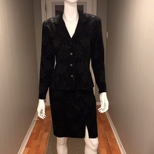 Black on Black Print 2 pc Blazer & Skirt Suit 10